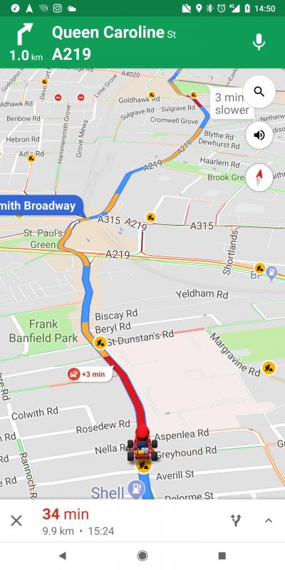 Mario Cart in Google Maps today