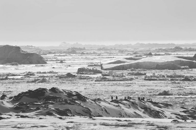 The mouth of the Ilulissat ice fjord, aka Kangia, seen from near the Sermermiut settlement 🇬🇱  #arcticcircle